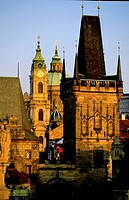Charles Bridge towers, Prague. Czech Republic