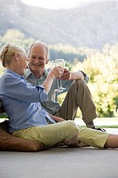 A senior couple toasting