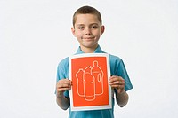 Boy holding a illustration of bottles