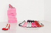 Collection of high heeled shoes