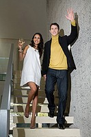 Couple waving