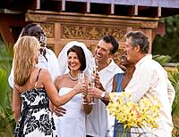 Multi_ethnic friends toasting newlyweds
