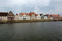 Germany - Schleswig-Holstein - Glückstadt. Residential buildings on Elbe River