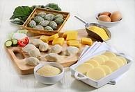 Still life: Dumplings 'Gnocchi'. Baked semolina 'gnocchi alla romana', stuffed gnocchi, polenta gnocchi, spinach gnocchi