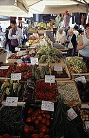 Group of people shopping in a market, Florence, Tuscany, Italy