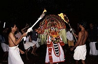 Group of people performing Mudiyettu dance in a temple, Bhadrakali Temple, Kerala, India