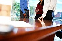Businesspeople Leaning on Table During Meeting