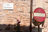 europe, italy, umbria, monterivoso, road signs