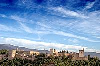 europe, spain, andalusia, alhambra view from albayzin