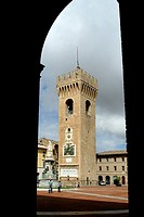 europe, italy, marche, recanati, civic tower, piazza leopardi
