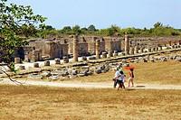 paestum archeological site, campania, italy