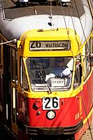 A closed up view of a Warsas tram. Warsaw. Poland