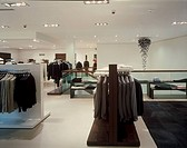HUGO BOSS SHOP, THE METQUATER WHITECHAPLE, LIVERPOOL, MERSEYSIDE, UK, DALZIEL & POW, INTERIOR, MENS DERAPRTMENT TO STAIR WELL