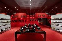 KURT GEIGER, REGENT STREET, LONDON, W1 OXFORD STREET, UK, FOUND ASSOCIATES, INTERIOR, MENSWEAR TO SLOPPING RED DISPLAY