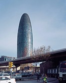 TORRE AGBAR, BARCELONA, SPAIN, JEAN NOUVEL, EXTERIOR, VIEW WITH GRAFFITI MOTORWAY