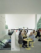 SERPENTINE GALLERY PAVILION, KENSINGTON GARDENS, LONDON, W2 PADDINGTON, UK, OSCAR NIEMEYER, INTERIOR, CAFE AREA