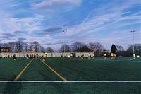 BURGESS PARK FOOTBALL PAVILION, BURGESS PARK, LONDON, SE5 CAMBERWELL, UK, STUDIO E ARCHITECTS LTD, EXTERIOR, FOOTBALL PITCH IN USE, DAY