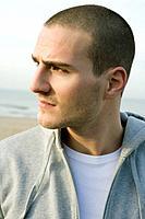 Portrait of a man, on the beach
