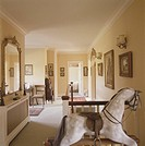 WATERSPLASH FARM, BUCKINGHAMSHIRE, UK, UNKNOWN OR N/A, INTERIOR, LANDING WITH ROCKING HORSE