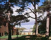 BEDALES SCHOOL ORCHARD DEVELOPMENT, CHURCH ROAD, STEEP, PETERSFIELD, HAMPSHIRE, UK, WALTERS & COHEN, EXTERIOR, VIEW THROUGH TREES WITH GIMSON LIBRARY