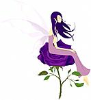 Fairy sitting on the purple flowers (thumbnail)