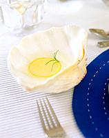 Fork, lemon and plate
