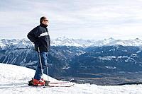 Mature adult male skier