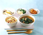 Korean food _ rice, kimchi and soup