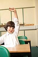 Boy raising his hand in classroom