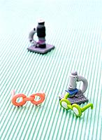 Paper clay toy, miniature, glasses and microscope