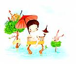 Illustration of kid with umbrella