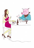 Young woman having dinner with a pig