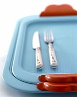 Tray, fork and knife