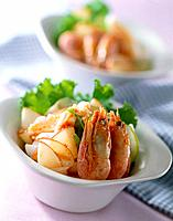 Asian seafood cuisine with variety of shrimp, fish and shell (thumbnail)