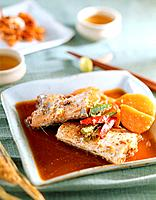 Steamed fish with sauce