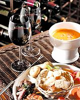 Soup, bread, vegetable and wine