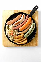 Sausages, potatos and onions