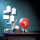 Globe and books on desk, pictures on blackboard