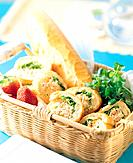 Sandwiches in picnic basket