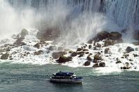 Tourist ship ´Maid of the Mist´ below Niagara Falls (American falls.)  State New York. USA