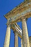 Tunisia, near Dougga, Roman Ruins, the Capitol of Dougga, highlighting the massive columns of the Corinthian order