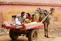 couple on camel cart