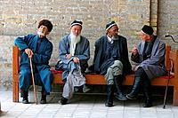 Old men, Uzbeks on bench, Bukhara, Uzbekistan, Uzbek