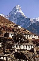 Khumjung and mount ama dablam 6856 m   Mount Everest region  Khumbu  Nepal