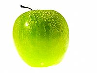 One green Apple with dew on it