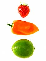 One strawberry one lime and one pepper