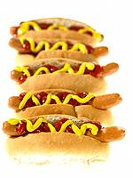 Five Hot Dogs with toppings