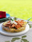 Potato frittata with smoked fish out of doors