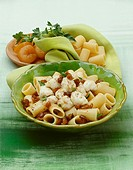 Sweet and sour pasta salad with apricots and John Dory