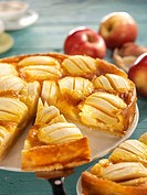 Alsatian apple tart, pieces cut